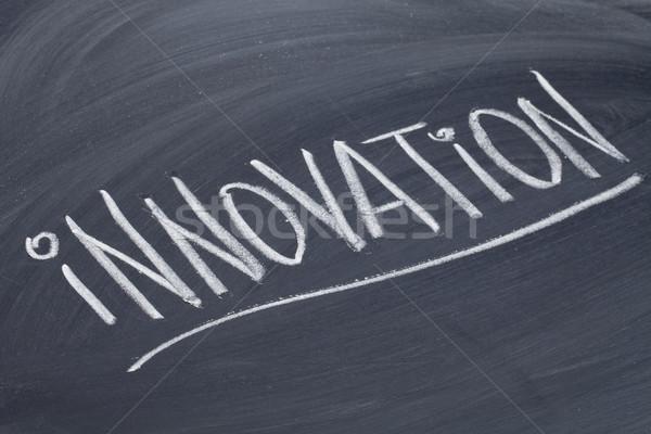 Innovazione parola lavagna bianco gesso calligrafia Foto d'archivio © PixelsAway