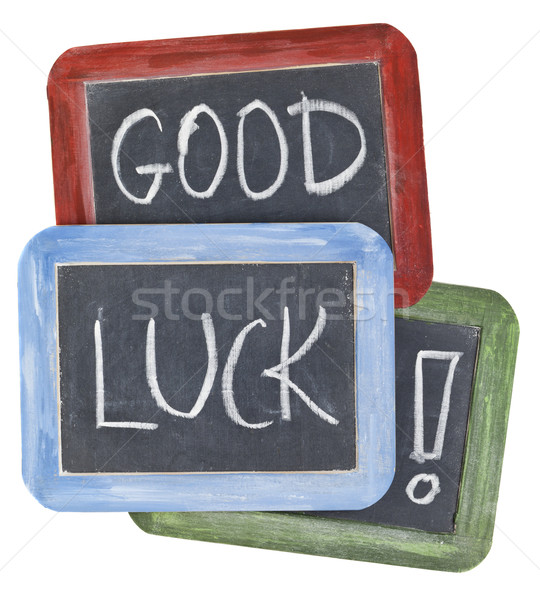 Stock photo: good luck wishes on blackboard