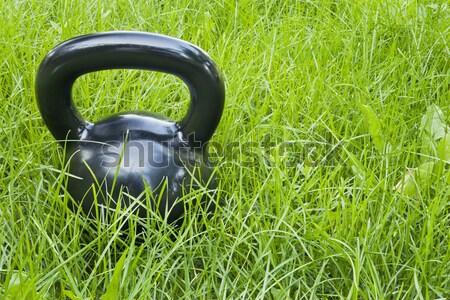 heavy kettlebells in grass Stock photo © PixelsAway