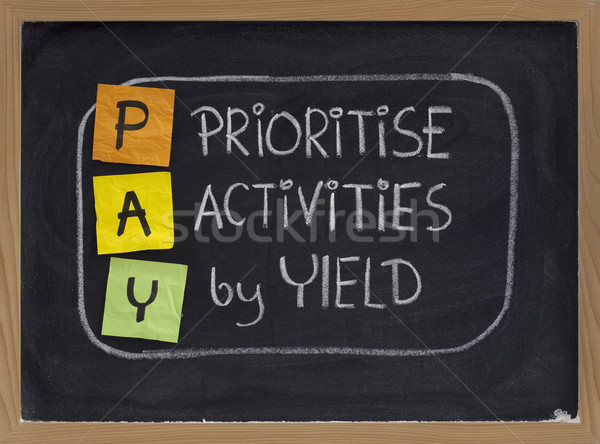 prioritise activities by yield - PAY Stock photo © PixelsAway