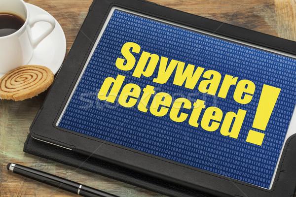 Spyware alertar digital comprimido copo café Foto stock © PixelsAway