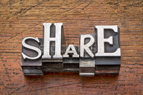 Stock photo: share word in metal type