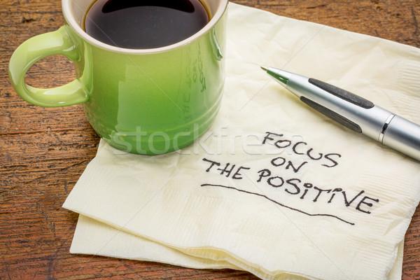 Foto stock: Enfoque · positivo · servilleta · motivacional · palabras