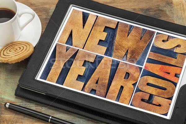 New Year goals on digital tablet Stock photo © PixelsAway