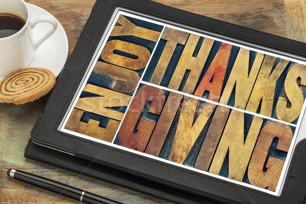 Foto stock: Disfrutar · acción · de · gracias · tarjeta · de · felicitación · banner · aislado · texto