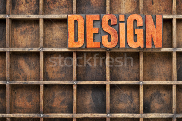 Stock photo: design concept in wood type