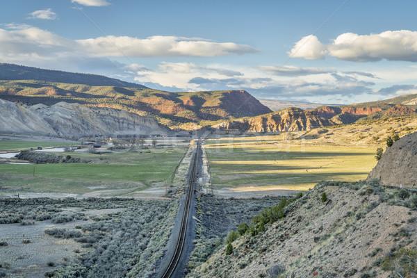 Stok fotoğraf: Vadi · Colorado · nehir · demiryolu · köprü · bahar