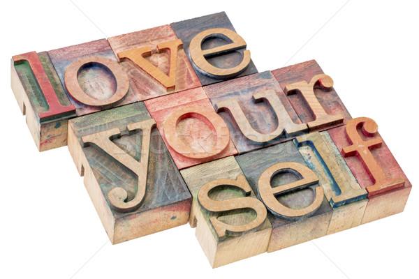 Amor usted mismo madera tipo aislado Foto stock © PixelsAway