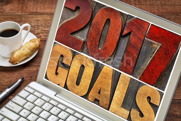 2017 goals banner in wood type Stock photo © PixelsAway