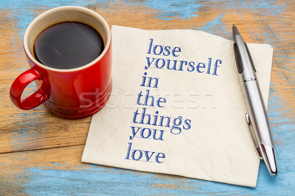 терять себя вещи любви почерк салфетку Сток-фото © PixelsAway