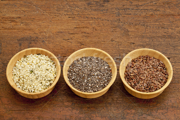 chia, flax and hemp seeds Stock photo © PixelsAway