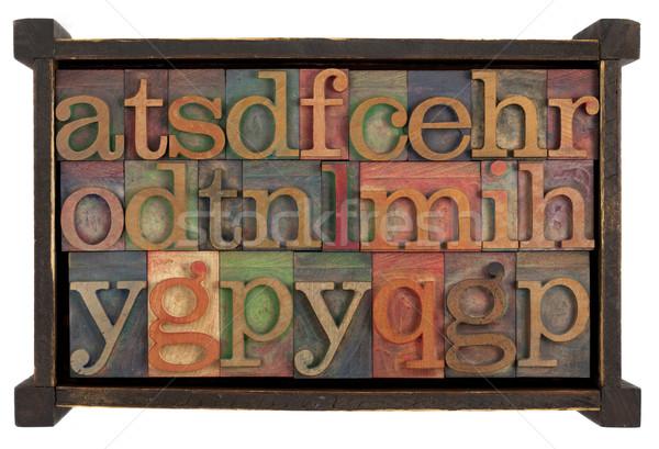 Stock fotó: ábécé · fából · készült · doboz · levelek · véletlenszerű · klasszikus
