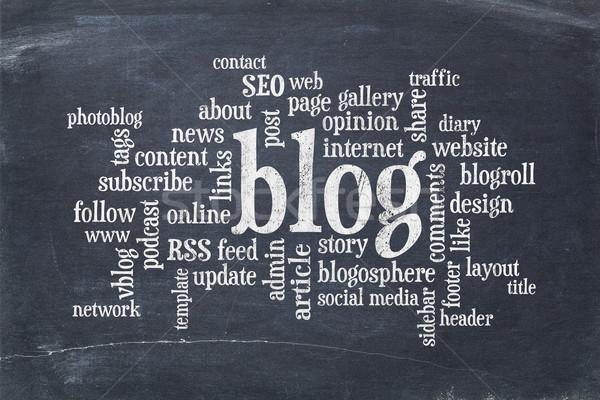 blog  word cloud on blackboard Stock photo © PixelsAway