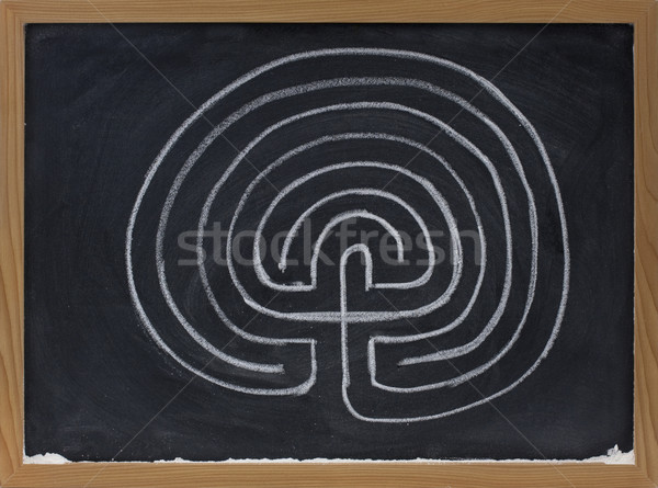 seven ring labyrinth on blackboard Stock photo © PixelsAway