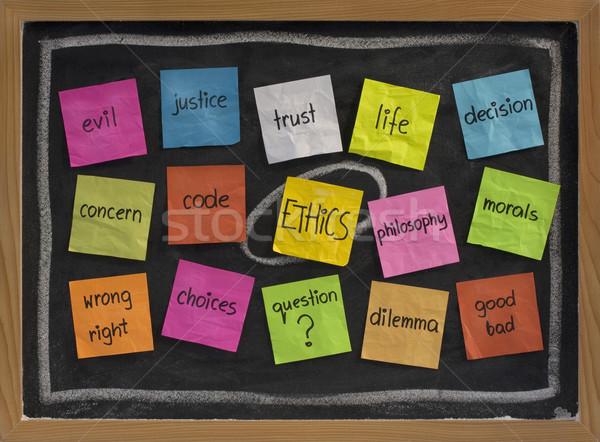 Ethik Wort-Wolke Wolke Worte Farbe Haftnotizen Stock foto © PixelsAway