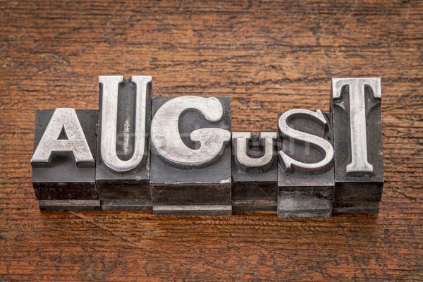 Août mois métal type mot mixte Photo stock © PixelsAway
