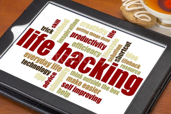 élet hackelés szófelhő digitális tabletta csésze Stock fotó © PixelsAway