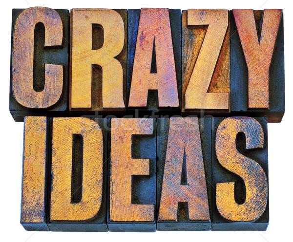 Gek ideeën hout type creativiteit Stockfoto © PixelsAway