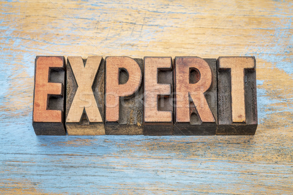 expert word in wood type Stock photo © PixelsAway