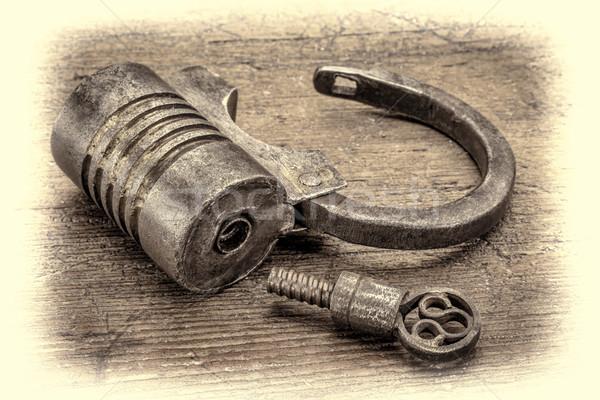 vintage screw type iron padlock  Stock photo © PixelsAway