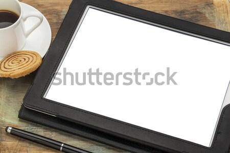 Digitális tabletta képernyő táblagép fekete bőr Stock fotó © PixelsAway