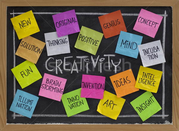 creativity word cloud on blackboard Stock photo © PixelsAway
