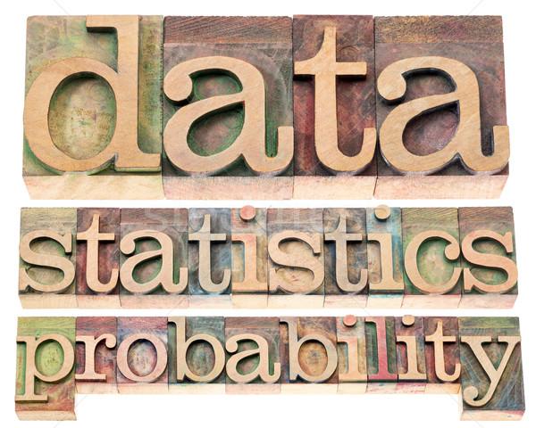 Dati statistiche isolato parole legno Foto d'archivio © PixelsAway