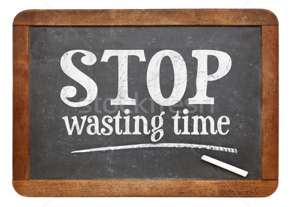 Durdurmak zaman tahta imzalamak beyaz tebeşir Stok fotoğraf © PixelsAway