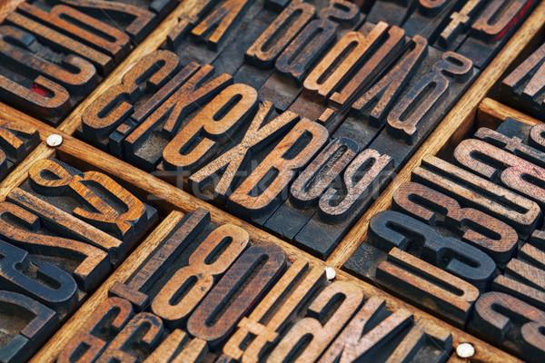 Stock photo: lettepress wood type abstract