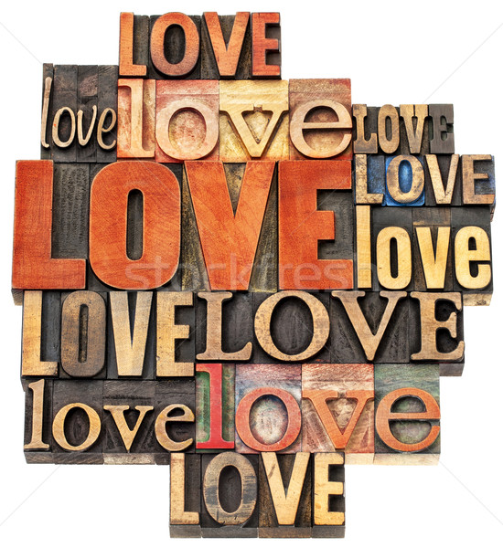 love word abstract in wood type Stock photo © PixelsAway
