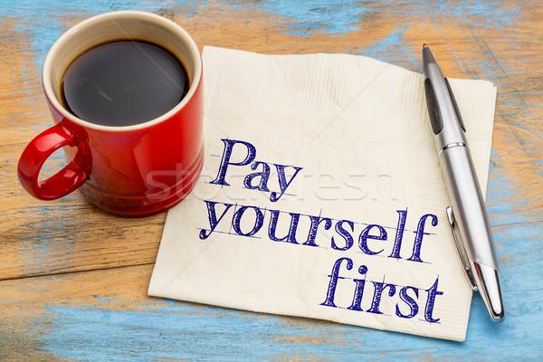 себя первый текста салфетку финансовые консультации Сток-фото © PixelsAway