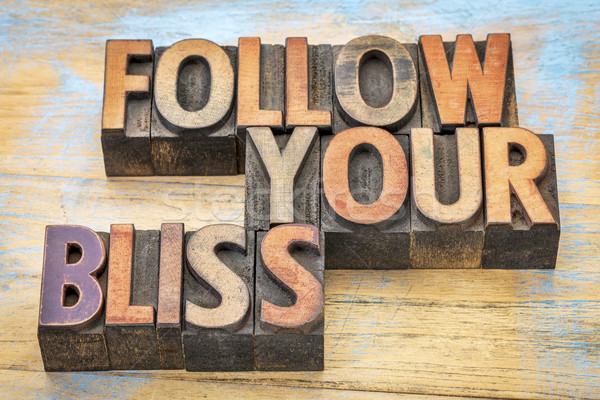 follow your bliss in wood type Stock photo © PixelsAway