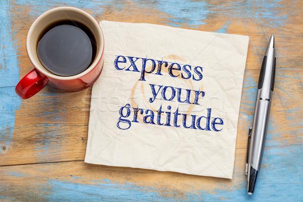 Dankbaarheid handschrift servet beker koffie Stockfoto © PixelsAway
