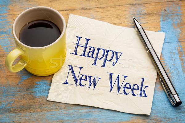 Gelukkig nieuwe week servet vrolijk handschrift Stockfoto © PixelsAway