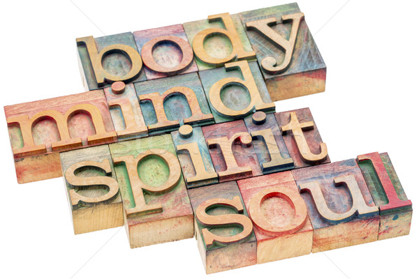 body, mind, spirit and soul concept in wood type Stock photo © PixelsAway