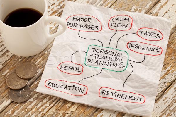 Persoonlijke financiële financiële planning servet doodle espresso Stockfoto © PixelsAway