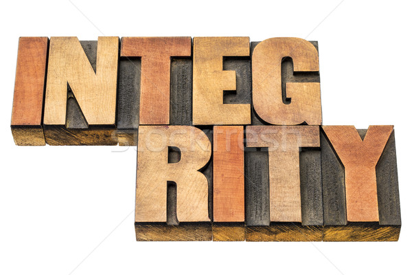 integrity word abstract in wood type Stock photo © PixelsAway