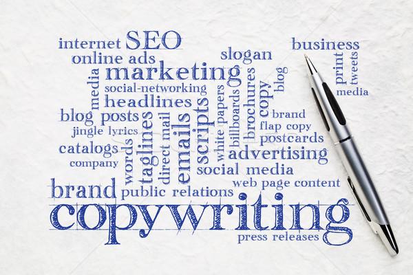 слово облако бумаги пер почерк белый бизнеса Сток-фото © PixelsAway