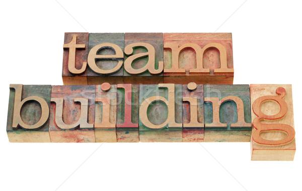 Team building isolato parole vintage legno Foto d'archivio © PixelsAway