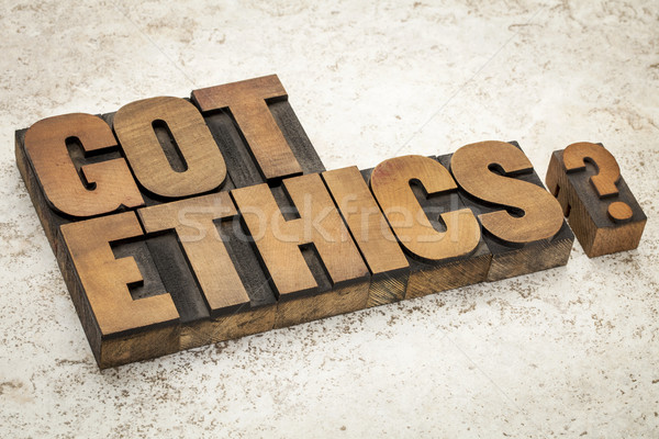 Ethiek vraag tekst vintage hout Stockfoto © PixelsAway