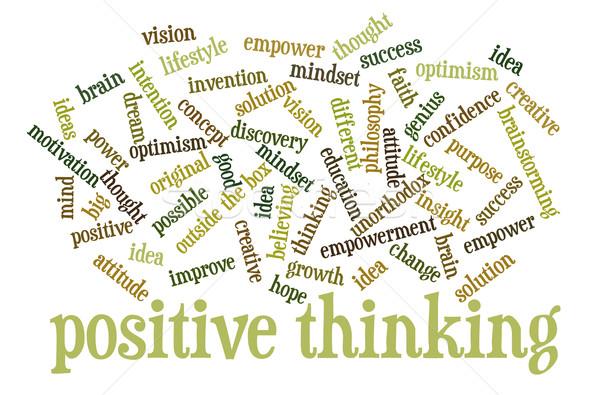 Positief denken woordwolk wolk woorden Stockfoto © PixelsAway
