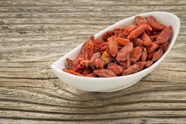 Stock photo: goji berries in a small bowl