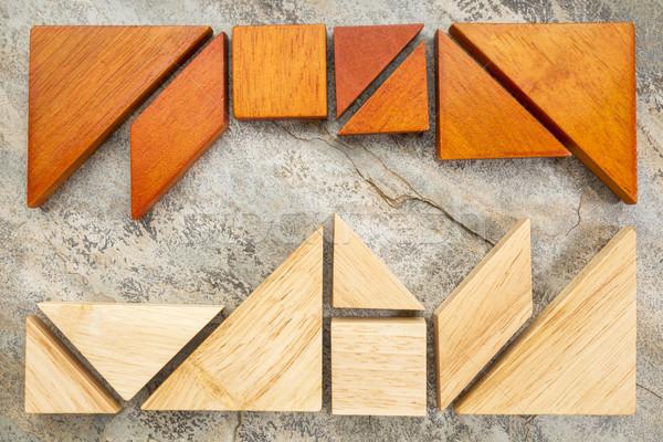 Dwa puzzle rock tradycyjny chińczyk gry Zdjęcia stock © PixelsAway