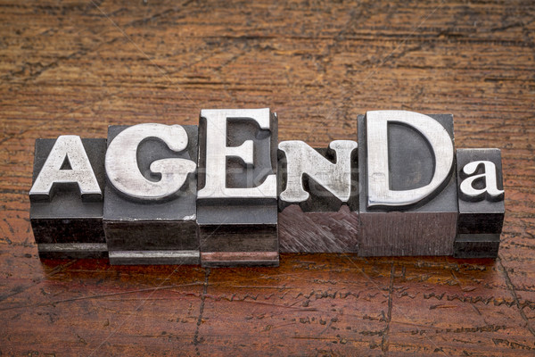agenda word in metal type Stock photo © PixelsAway