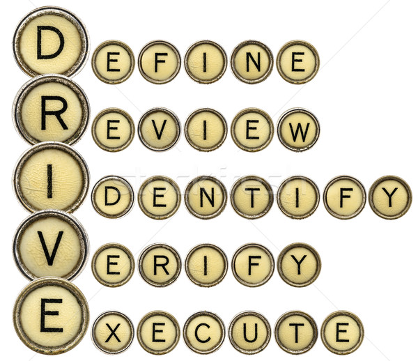 Define, Review, Identify, Verify, Execute - DRIVE Stock photo © PixelsAway