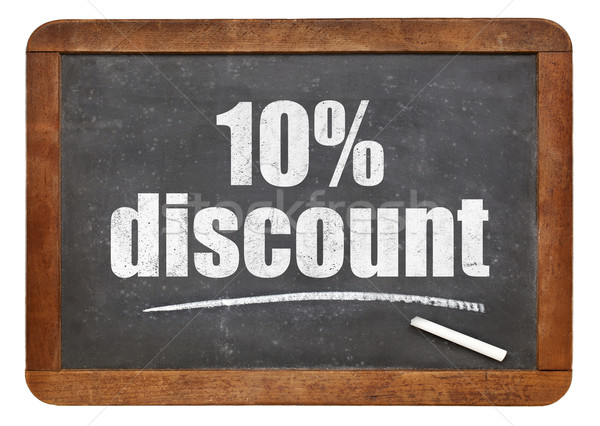 десять процент скидка доске знак белый Сток-фото © PixelsAway