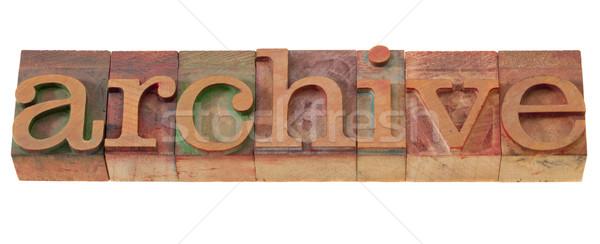 Archief woord type vintage houten Stockfoto © PixelsAway