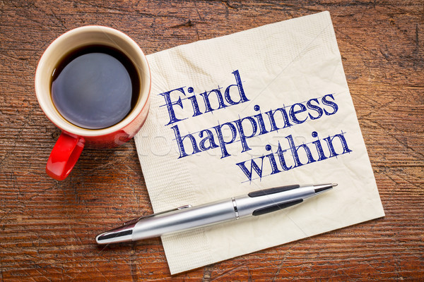Finden Glück Rat Handschrift Serviette Tasse Stock foto © PixelsAway