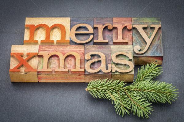 Merry Christmas in wood type Stock photo © PixelsAway