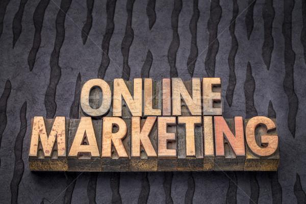 ストックフォト: オンラインマーケティング · 言葉 · 抽象的な · 木材 · タイプ · ヴィンテージ